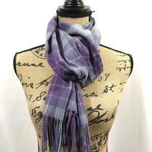 Lochmere Wool Cashmere Blend Purple Plaid Fringe
